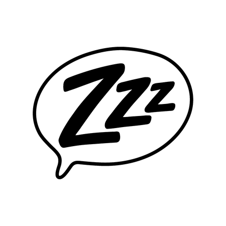 Z-z-z text on text bubble. Printable graphic tee. Design doodle for print. Vector illustration. Colorful tag. Zzz Cartoon hand drawn comic style. Icon for sleeping mode Vectores