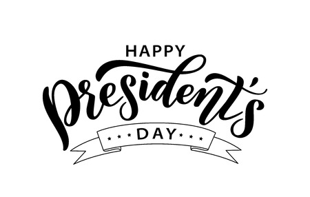 Happy Presidents Day with stars and ribbon. Vector illustration Hand drawn text lettering for Presidents day in USA. Script. Calligraphic design for print greetings card, sale banner, poster. Colorful