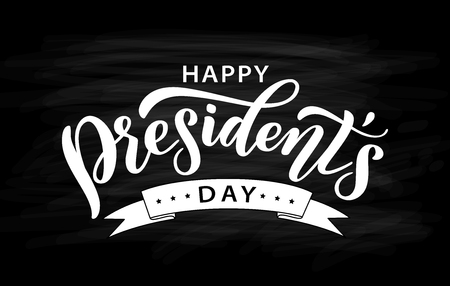 Happy Presidents Day with ribbon. Vector illustration Hand drawn text lettering for Presidents day in USA. Script. Calligraphic design for print greetings card, sale banner, poster. Black and white Stock Vector - 121988197