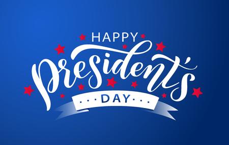 Feliz día de los presidentes con estrellas y cinta blanca sobre fondo azul. Ilustración vectorial Letras de texto dibujadas a mano para el día de los presidentes en Estados Unidos. Diseño para imprimir tarjetas de felicitación, banner de venta, cartel. Ilustración de vector
