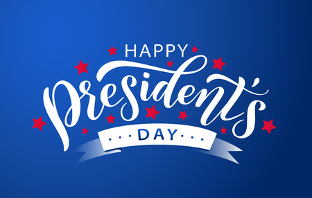 Happy Presidents Day with stars and white ribbon on blue background. Vector illustration Hand drawn text lettering for Presidents day in USA. Design for print greetings card, sale banner, poster.
