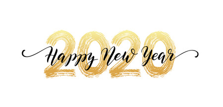2020 Happy New Year script text hand lettering.