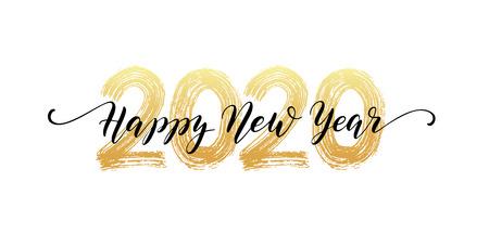 Feliz año nuevo 2020 texto script letras a mano. Ilustración de vector