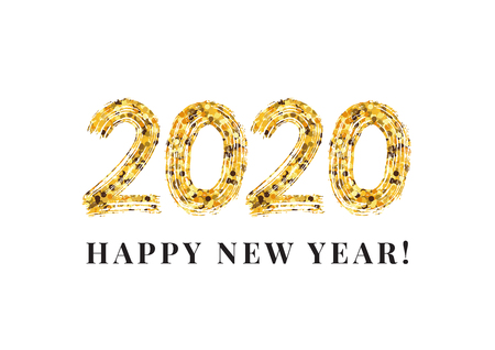 2020 Happy New Year. Numeral text hand lettering. Dry brush texture effect. Merry Christmas. Graduation. Design template Celebration typography poster, banner or greeting card. Vector Illustration