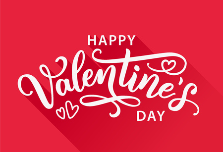 Happy Valentines Day greeting card on red background with long shadow. Hand drawn white text lettering for Valentines Day Vector illustration. Calligraphic design for print cards, banner Illustration