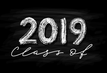 Class of 2018. Hand drawn brush lettering Graduation. Template for graduation design, party, high school or college graduate, yearbook. Modern calligraphy. Vector illustration.