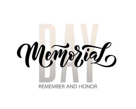 Memorial Day. Remember and honor. Vector illustration Hand drawn text lettering with stars for Memorial Day in USA. Script. Calligraphic design for print greetings card, sale banner, poster. Colorful Stock Vector - 121988209
