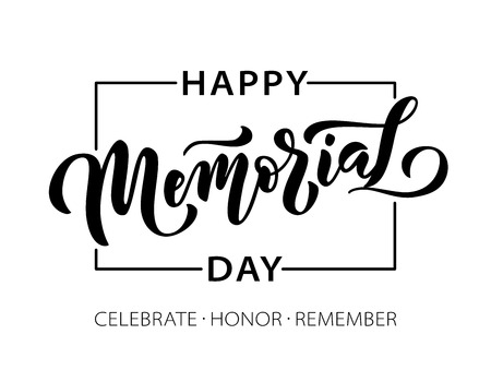 Memorial Day. Celebrate Honor Remember. Vector illustration Hand drawn text lettering with stars for Memorial Day in USA. Script. Calligraphic design for print greetings card, sale banner, poster. Illustration