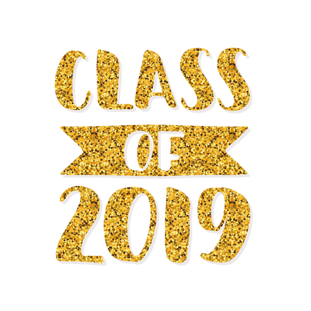 Class of 2019. Hand drawn brush lettering Graduation. Template for graduation design, party, high school or college graduate, yearbook. Modern calligraphy. Vector illustration.