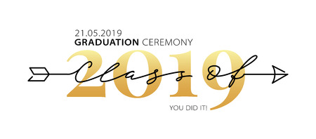 Graduation ceremony Class of 2019 with place for your date. Lettering. Modern calligraphy. Vector illustration. Template for graduation design, party, high school or college graduate, yearbook.