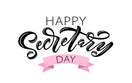 Happy Secretary Day hand belettering vectorillustratie. 24 april 2019. Handgetekend tekstontwerp voor Nationale Secretaressedag. Dag van de administratieve professional. Scriptwoord voor wenskaart afdrukken