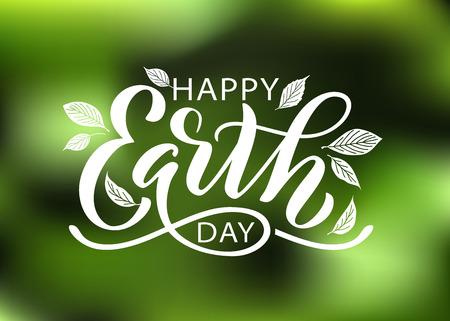 Szczęśliwy dzień ziemi ręka napis ilustracji wektorowych z liści. 22 kwietnia. Ręcznie rysowane tekst projekt na Światowy Dzień Ziemi. Zielona koncepcja ekologii dla ratowania naszej planety i środowiska. Do druku baneru plakatowego