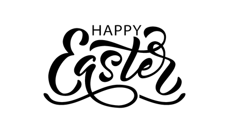 Happy Easter text. Vector illustration isolated on white background. Hand drawn text for Easter greeting card. Hand drawn Typography design for Resurrection Sunday day graphic print card banner poster
