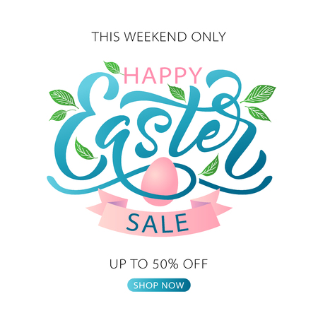 Happy Easter text. Vector illustration with bunny rabbit ears on mint background. Hand drawn text for Easter greeting card. Hand drawn Typography design for Resurrection Sunday day print banner poster Ilustração