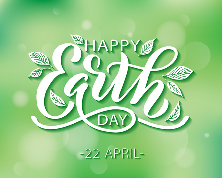 Happy Earth Day hand lettering vector illustration with leaves. 22 April. Hand drawn text design for World Earth Day. Green ecology concept for save our planet and environment. For print poster banner