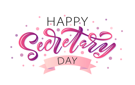 Happy Secretary Day hand lettering vector illustration. 24 April 2019. Hand drawn text design for National Secretaries Day. Administrative Professionals Day. Script word for print greetings card 向量圖像