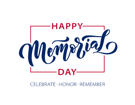 Memorial Day. Celebrate Honor Remember. Vector illustration Hand drawn text lettering with stars for Memorial Day in USA. Script. Calligraphic design for print greetings card, sale banner, poster. Ilustração