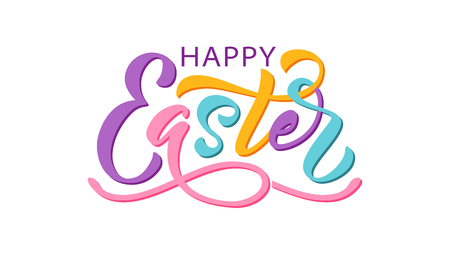 Happy Easter text. Vector illustration isolated on white background. Hand drawn text for Easter greeting card. Hand drawn Typography design for Resurrection Sunday day print banner poster