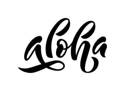 Aloha word lettering. Hand drawn summer quote aloha hawaii. Vector illustration for print on shirt, card, etc. Black and white. Hawaiian text hello phrase.