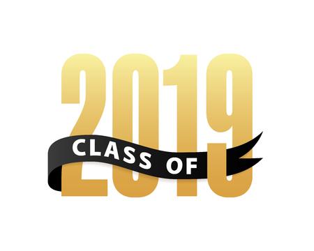 Clase de graduación de letras de oro 2019 3d con cinta. Plantilla para diseño de graduación, fiesta, bachillerato o graduado universitario, anuario. Ilustración vectorial
