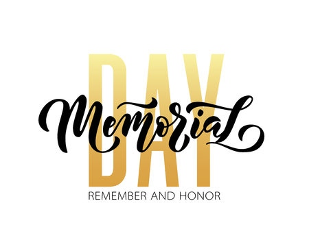 Memorial Day. Remember and honor. Vector illustration Hand drawn text lettering with stars for Memorial Day in USA. Script. Calligraphic design for print greetings card, sale banner, poster. Colorful 写真素材 - 121988333