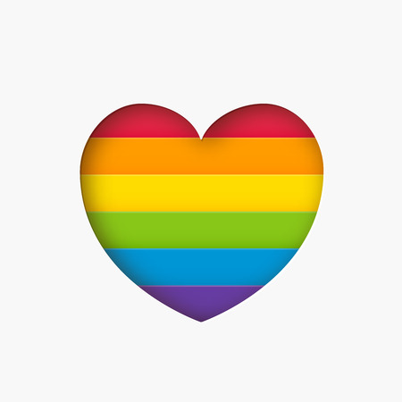Heart lgbt sign rainbow color stripe. Pride flag Paper cut heart shape Concept love symbol. Valentine day. Vector illustration isolated on white background Çizim