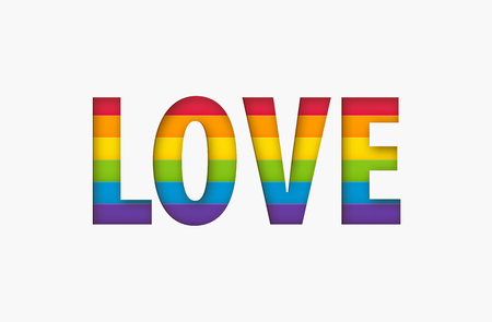 Love word lgbt sign rainbow color stripe. Pride flag Paper cut love text letters shape Concept. Valentine day. Vector illustration isolated on white background Stock Illustratie