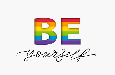Be yourself quote. LGBT rainbow pride flag. Paper cut word. Lesbian gay bisexual and transgender and queer love yourself. Text design print for lgbt t shirt, poster, card, banner Vector illustration Çizim
