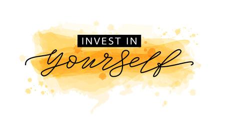 Investiere in dich selbst. Motivationszitat Moderner Kalligraphietext investiert in Ihr Selbst. Designdruck für T-Shirt, T-Shirt, Karte, Plakatbanner. Vektorillustration Gelbgoldfarbe