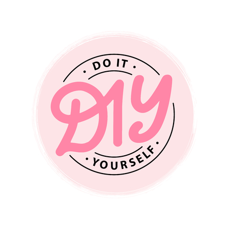 DIY do it yourself. Lettering abbreviation circle stamp. Vector illustration. Round Template for print design label, badge rubber seal stamp on white background. Pink color Ilustracja