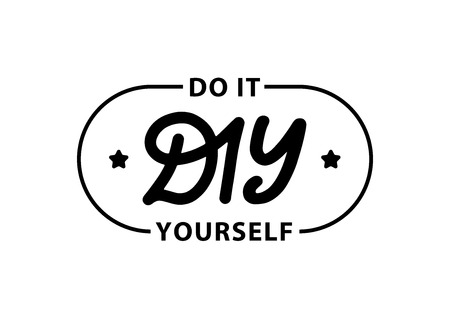 DIY do it yourself. Lettering abbreviation stamp. Vector illustration. Template for print design label, badge rubber seal stamp on white background