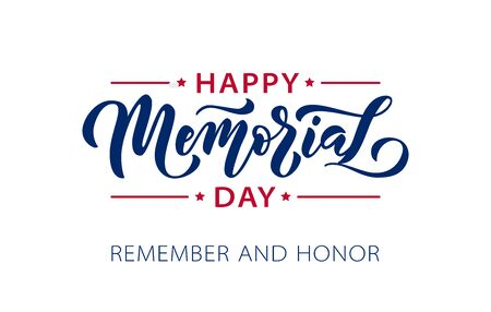 Memorial Day. Remember and honor. Vector illustration Hand drawn text lettering with stars for Memorial Day in USA. Script. Calligraphic design for print greetings card, sale banner, poster. Colorful