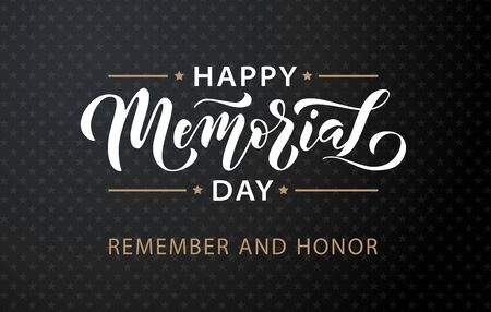 Memorial Day. Remember and honor. Vector illustration Hand drawn text lettering with stars for Memorial Day in USA. Script. Calligraphic design for print greetings card, sale banner, poster. Ilustracja