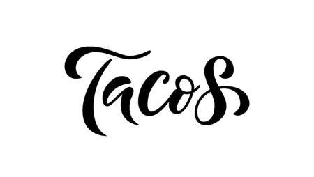 Tacos. Vector illustration. Promotion sign graphic print. Traditional mexican cuisine.