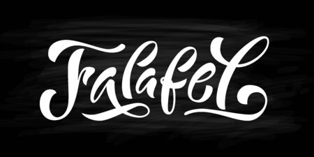 Falafel word. Hand drawn text . Vector illustration for falafel street food market on black background. Graphic print design for banner, tee, t shirt, poster label stamp. Vegan fast food.