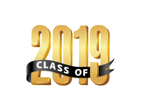 Class of 2019 Gold Lettering Graduation 3d with ribbon. Template for graduation design, party, high school or college graduate, yearbook. Vector illustration  イラスト・ベクター素材