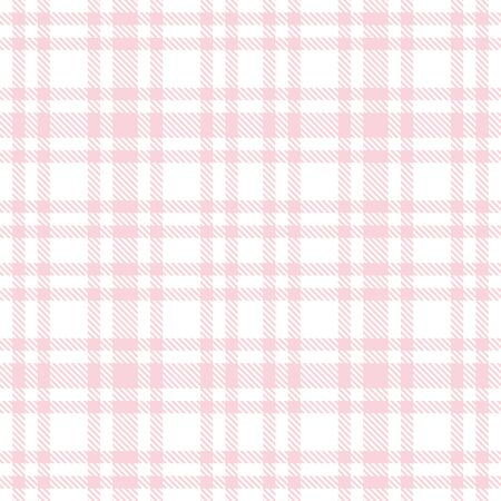 Tartan seamless vector plaid pattern. Pink and white color Checkered plaid texture. Geometrical simple square background for girl female fabric, textile, blanket, wrapping design  イラスト・ベクター素材