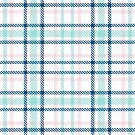 Patrón de cuadros de vector transparente de tartán. Textura de cuadros a cuadros de color azul, rosa y menta y blanco. Fondo cuadrado geométrico simple para tela femenina niña, textil, manta, diseño de envoltura Ilustración de vector