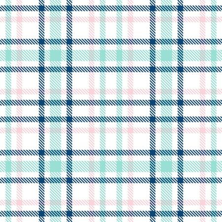 Tartan seamless vector plaid pattern. Blue, pink and mint and white color Checkered plaid texture. Geometrical simple square background for girl female fabric, textile, blanket, wrapping design
