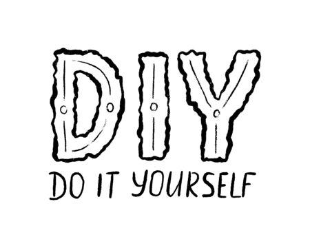 DIY faites-le vous-même. Illustration d'abréviation de lettrage. Modèle d'étiquette de conception d'impression, badge sur fond blanc