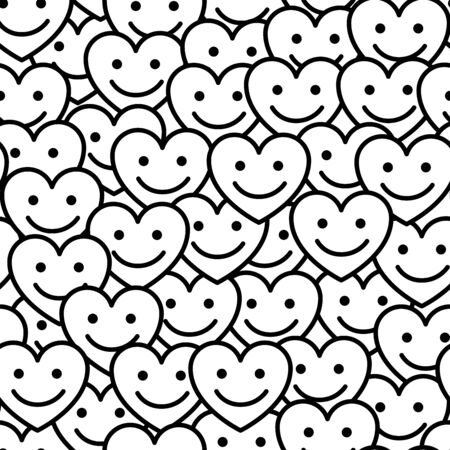 Smile hearts with face seamless pattern. Vector abstract background with positive smiling hearts. Design for Valentines Day wrapping paper, love texture.