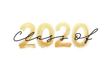 Classe de 2020. Calligraphie moderne. Illustration vectorielle. Lettrage au pinceau dessiné à la main Modèle pour la conception de l'obtention du diplôme, la fête, le diplôme d'études secondaires ou collégiales, l'annuaire.