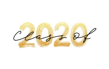 Classe del 2020. Calligrafia moderna. Illustrazione vettoriale. Graduazione dell'iscrizione della spazzola disegnata a mano. Modello per la progettazione di laurea, festa, liceo o laureato, annuario.