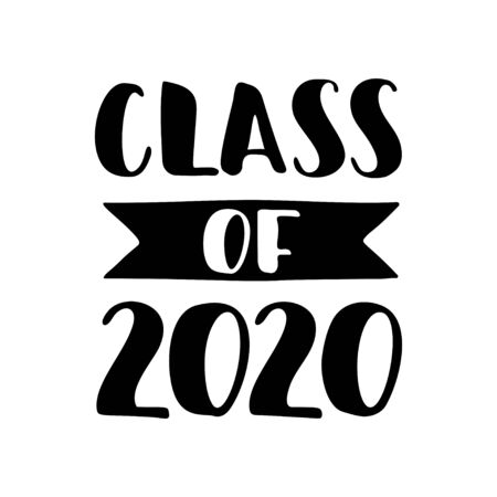 Class of 2020. Black Hand drawn brush lettering Graduation on white background. Template for graduation design, party, high school or college graduate, yearbook. Vector illustration.