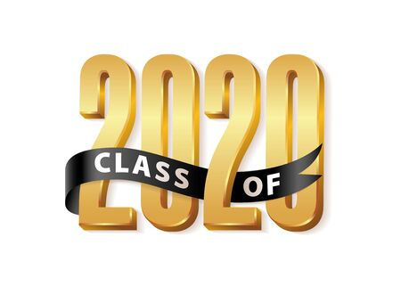 Class of 2020 Gold Lettering Graduation 3d  with black ribbon. Template for graduation design, party, high school or college graduate, yearbook. Vector illustration
