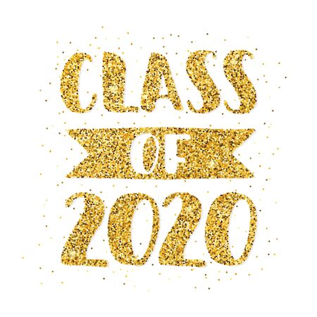 Class of 2020. Hand drawn brush lettering Graduation . Template for graduation design, party, high school or college graduate, yearbook. Modern calligraphy. Vector illustration.