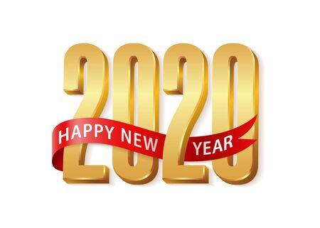 2020 Feliz año nuevo texto dorado 3d con cinta roja. Plantilla de diseño Cartel de tipografía de celebración, banner o tarjeta de felicitación para Feliz Navidad y feliz año nuevo. Ilustración vectorial