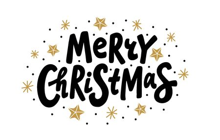 Merry Christmas text. Vector illustration. Unique xmas design element black isolated on white background. Design print on merry christmas congratulation cards, banner, poster, flyer or social media
