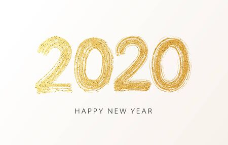 2020 Happy New Year. Numeral text hand lettering. Dry brush gold texture glitter effect. Merry Christmas and happy new year 2020. Design typography poster, banner or greeting card. Vector Illustration