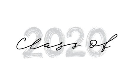 Class of 2020. Hand drawn brush lettering Graduation logo. Template for graduation design, party, high school or college graduate, class of 2020 yearbook. Modern calligraphy. Vector illustration.